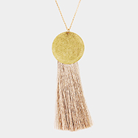 Metal Disc Tassel Pendant Long Necklace
