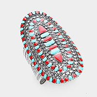 Enamel turquoise red coral wide cuff bracelet