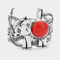 Round Red Coral Detail Metal Elephant Cuff Bracelet