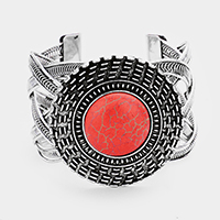 Tribal Round Red Coral Detail Braided Metal Cuff Bracelet