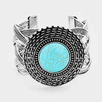 Tribal Round Turquoise Detail Braided Metal Cuff Bracelet
