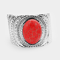 Tribal Patterned Oval Red Coral Detail Cuff Bracelet