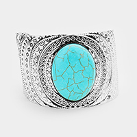 Tribal Patterned Oval Turquoise Detail Cuff Bracelet
