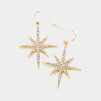 Crystal Rhinestone Pave North Star Dangle Earrings