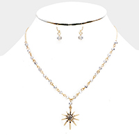 Beaded Crystal Rhinestone Pave North Star Pendant Necklace