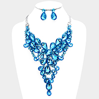 Felt Back Crystal Teardrop Stone Cluster Vine Bib Necklace