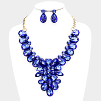 Felt Back Floral Crystal Teardrop Stone Cluster Bib Necklace