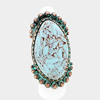 Oversized Antique Oval Turquoise Stretch Ring