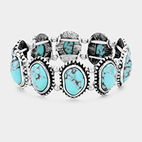 Antique Abstract Turquoise Stretch Bracelet