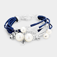 Pearl Multi Strand Sea Life Charm Toggle Bracelet