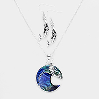 Enamel Wave Metal Mermaid Pendant Necklace