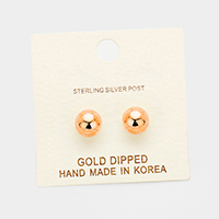 8mm Gold Dipped Metal Ball Stud Earrings