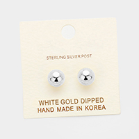 8mm White Gold Dipped Metal Ball Stud Earrings