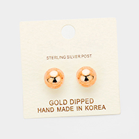10mm Gold Dipped Metal Ball Stud Earrings
