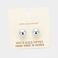 10mm White Gold Dipped Metal Ball Stud Earrings