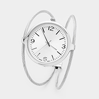 Round Dial Metal Cuff Watch
