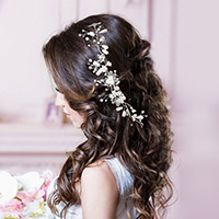 Wedding Bridal Pearl Floral Leaf Hair Comb