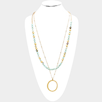 Semi Precious Beaded Metal Hoop Pendant Long Necklace