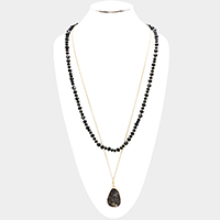 Double Layered Teardrop Agate Pendant Long Necklace