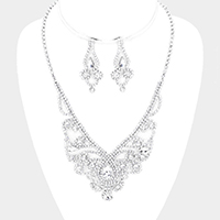 Rhinestone Pave Crystal Teardrop Detail Necklace