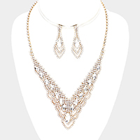 Crystal Oval Cluster Rhinestone Pave Necklace