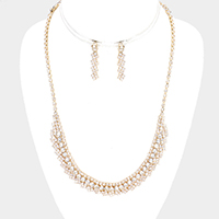 Curved Crystal Rhinestone Pave Necklace