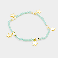 Beaded Metal Star Station Stretch Bracelet