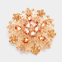 Floral Crystal Pin Brooch