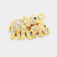 Crystal Mother Baby Elephant Pin Brooch