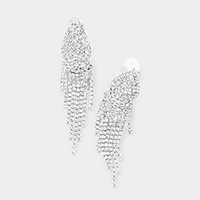 Crystal Rhinestone Pave Fringe Evening Clip on Earrings