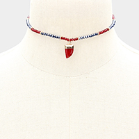 Beaded Horn Pendant Choker Necklace