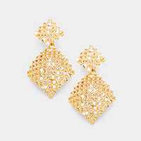 Crystal Rhinestone Pave Square Evening Earrings