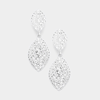 Crystal Rhinestone Pave Oval Evening Earrings