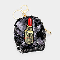 Lipstick Patch Reversible Sequin Backpack Key Chain