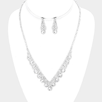 Rhinestone Pave Draped Crystal Teardrop V Collar Necklace