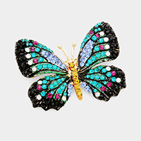 Rhinestone Pave Butterfly Pin Brooch