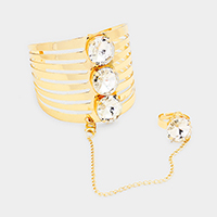 Ring Connected Triple Crystal Cut Out Cage Cuff Bracelet