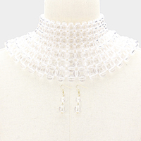 Clear Lucite Ball Armor Bib Choker Necklace