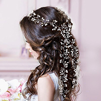 Wedding Bridal Pearl Cluster Long Hair Vine Accessory