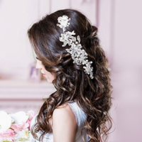 Wedding Bridal Pearl Clear Bead Floral Leaf Hair Comb