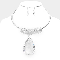 Crystal Teardrop Ornate Wire Wrapped Choker Necklace