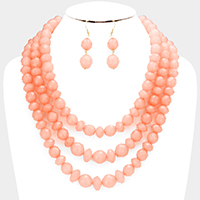 Triple Strand Beaded Bib Necklace