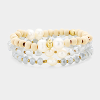 3PCS Wood Beaded Pearl Accented Stretch Bracelets