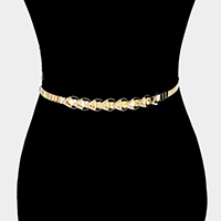 Crystal Rhinestone Chevron Detail Metal Teardrop Chain Belt