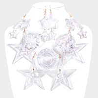 Clear Lucite Circle Star Cluster Vine Statement Necklace