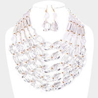 Multi Strand Clear Lucite Bead Bib Necklace