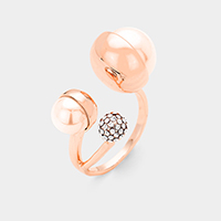 Gold Plated Double Pearl Accented CZ Ball Cuff Ring