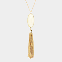 Hexagon Stone Drop Chain Tassel Pendant Necklace
