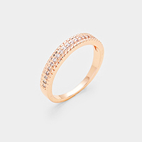 Rose Gold Plated Cubic Zirconia Pave Ring