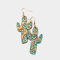 Flower Patterned Leather Cactus Dangle Earrings
